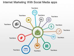 Internet Marketing With Social Media Apps Flat Powerpoint Design