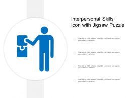 Interpersonal Skills Icon With Jigsaw Puzzle