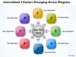 interrelated 8 factors diverging arrow diagram Cycle Chart PowerPoint templates