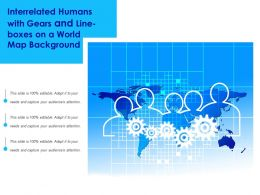 Interrelated Humans With Gears And Line boxes On A World Map Background