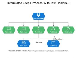 Interrelated Steps Process With Text Holders And Icons