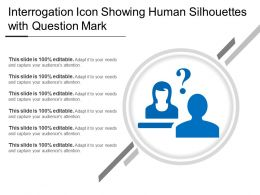 Interrogation Icon Showing Human Silhouettes With Question Mark