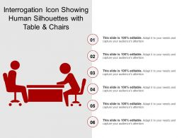 Interrogation Icon Showing Human Silhouettes With Table And Chairs