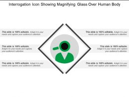Interrogation Icon Showing Magnifying Glass Over Human Body