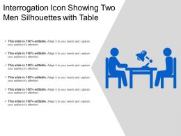 Interrogation Icon Showing Two Men Silhouettes With Table