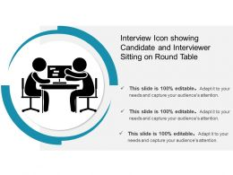 Interview Icon Showing Candidate And Interviewer Sitting On Round Table