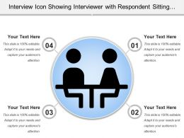 Interview Icon Showing Interviewer With Respondent Sitting Around Table
