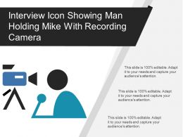 Interview Icon Showing Man Holding Mike With Recording Camera