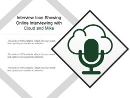 Interview Icon Showing Online Interviewing With Cloud And Mike