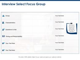 Interview Select Focus Group And Characteristics Ppt Powerpoint Presentation Visual Aids Diagrams