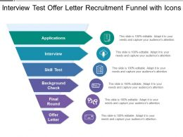 Interview Test Offer Letter Recruitment Funnel With Icons