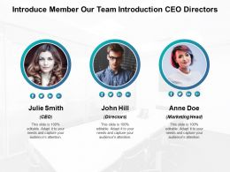 Introduce Member Our Team Introduction Ceo Directors