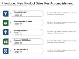 Introduced New Product Sales Key Accomplishments List With Arrows And Boxes
