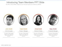 Introducing Team Members Ppt Slide