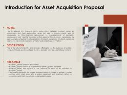 Introduction For Asset Acquisition Proposal Ppt Powerpoint Presentation Summary Guidelines