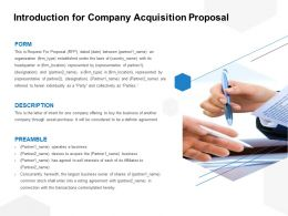 Introduction For Company Acquisition Proposal Ppt Powerpoint Presentation File