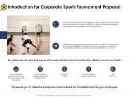 Introduction For Corporate Sports Tournament Proposal Ppt Powerpoint Vector
