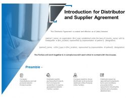 Introduction For Distributor And Supplier Agreement Ppt Icon Model