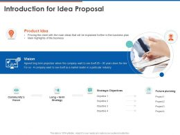 Introduction For Idea Proposal Ppt Powerpoint Presentation Ideas Example