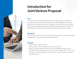 Introduction For Joint Venture Proposal Ppt Powerpoint Presentation Styles