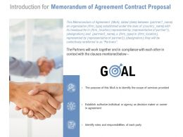 Introduction For Memorandum Of Agreement Contract Proposal Ppt Template