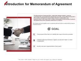 Introduction For Memorandum Of Agreement Goal Ppt Powerpoint Presentation Microsoft