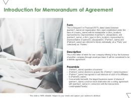 Introduction For Memorandum Of Agreement Ppt Powerpoint Presentation Show Aids