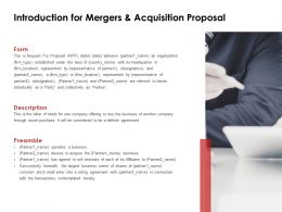 Introduction For Mergers And Acquisition Proposal Presentation Slides