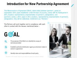 Introduction For New Partnership Agreement Ppt Powerpoint Infographics