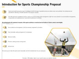 Introduction For Sports Championship Proposal Ppt Powerpoint Presentation Topics