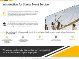 Introduction For Sports Event Service Ppt Powerpoint Presentation Demonstration