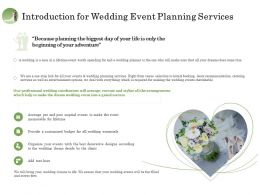 Introduction For Wedding Event Planning Services Ppt File Design