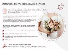 Introduction For Wedding Event Services Ppt Powerpoint Presentation Show Outline