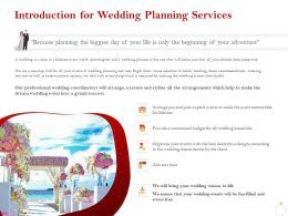 Introduction For Wedding Planning Services Ppt Powerpoint Gallery Outfit