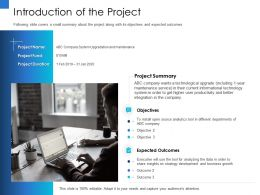 Introduction Of The Project Will Insights Ppt Powerpoint Presentation Slides Graphics