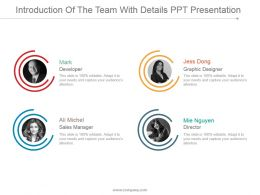 Introduction Of The Team With Details Ppt Presentation