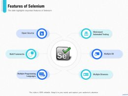 Introduction Selenium And Its Components Features Of Selenium Ppt Powerpoint Presentation File Icon