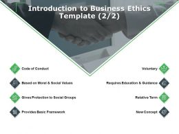 Introduction To Business Ethics Template Concept Ppt Powerpoint Presentation Model Gallery