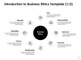 Introduction To Business Ethics Template Morality Powerpoint Slides