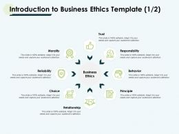 Introduction To Business Ethics Template Morality Ppt Slides