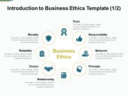 Introduction To Business Ethics Template Responsibility B140 Ppt Powerpoint Presentation Gallery Styles