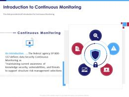 Introduction To Continuous Monitoring Data Security Powerpoint Presentation Mockup