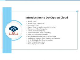 Introduction To Devops On Cloud Deployment Model Ppt Presentation Ideas