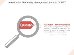 Introduction To Quality Management Sample Of Ppt