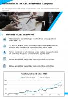 Introduction To The ABC Investments Company Presentation Report Infographic PPT PDF Document