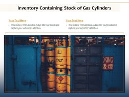 Inventory Containing Stock Of Gas Cylinders