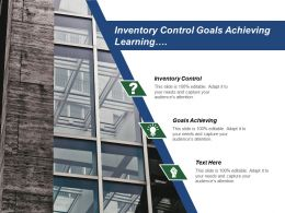 Inventory Control Goals Achieving Learning Entrepreneurship Equity Financing