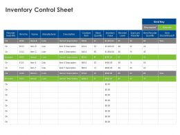 Inventory Control Sheet Ppt Powerpoint Presentation Infographics Pictures