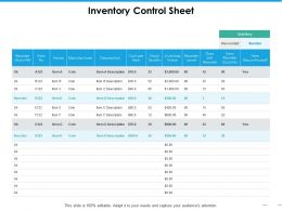 Inventory Control Sheet Ppt Summary Background Images