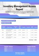 Inventory Management Access Report Presentation Report Infographic PPT PDF Document